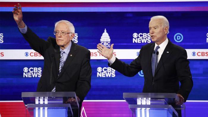 Sanders Biden Dem Debate AP