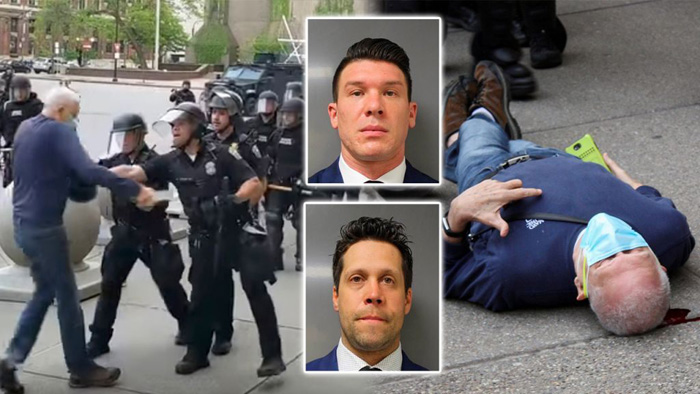 Buffalo cops caught on video pushing 75-year-old to the ground plead not guilty