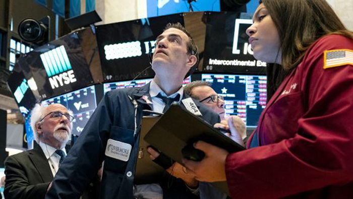 Stocks turn lower after surging to record
