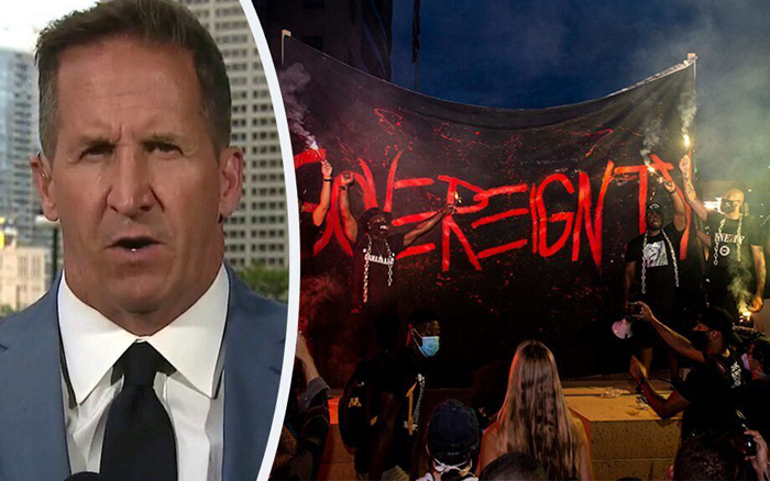 Mike Tobin describes seeing rioters 'pre-party in the parking lot' before 'big show of destruction'