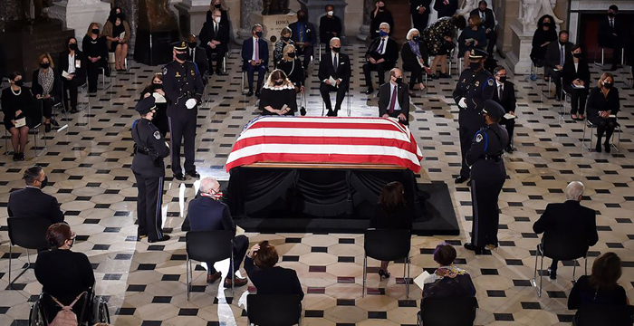 Ruth Bader Ginsburg's casket arrives at US Capitol to lie in state